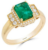Effy Diamonds, Natural Emerald and 14K Yellow Gold Ring