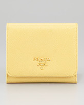Prada Small French Coin Wallet, Pale Yellow
