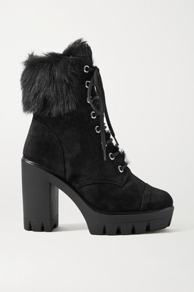 Giuseppe Zanotti Shearling-trimmed Suede Platform Ankle Boots - Black