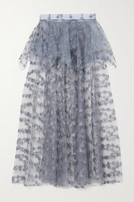 Rodarte Glittered Tulle Peplum Midi Skirt - Blue