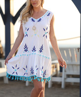 Ananda's Collection Women's Casual Dresses White - White & Turquoise Embroidered Tassel-Accent Sleeveless Shift Dress - Women
