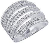 Lafonn Platinum Plated Sterling Silver Simulated Diamond Open Detail Ring