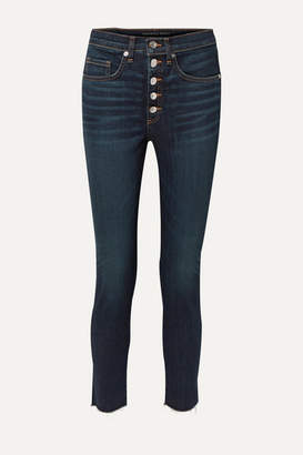 Veronica Beard Debbie Frayed High-rise Skinny Jeans - Dark denim