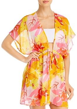 Echo Cutout Floral Kimono Swim Cover-Up
