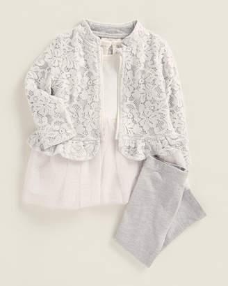 Miniclasix Infant Girls) 3-Piece Lace Jacket & Skirted Top Set