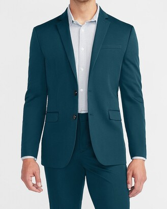 Express Slim Solid Teal Cotton Sateen Suit Jacket