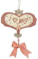 """Kurt Adler Pink & Silver Glitter """"I Love Ballet"""" Christmas Ornament #W7086"""