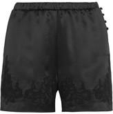 Dolce & Gabbana Lace-trimmed Silk-blend Satin Briefs - Black