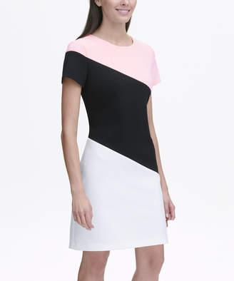 Tommy Hilfiger Women's Casual Dresses 693_BALLERINA - Ballerina Pink Diagonal Color Block Sheath Dress - Women