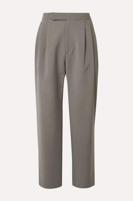 Isabella Collection Deveaux Cropped Pleated Woven Straight-leg Pants - Gray
