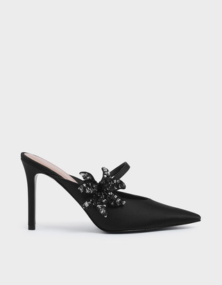 Charles & Keith Sequin Flower Satin Mules