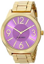 Nine West Women's NW/1584PRGB Purple Orchid Dial Gold-Tone Bracelet Watch