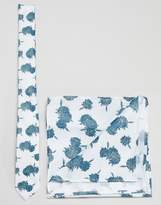 Asos DESIGN Floral Tie And Pocket Square Pack In Mint