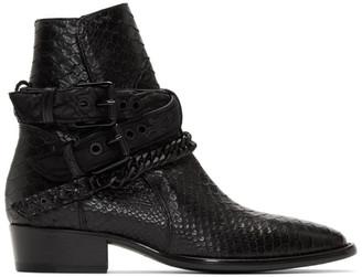 Amiri Black Buckle Chain Boots