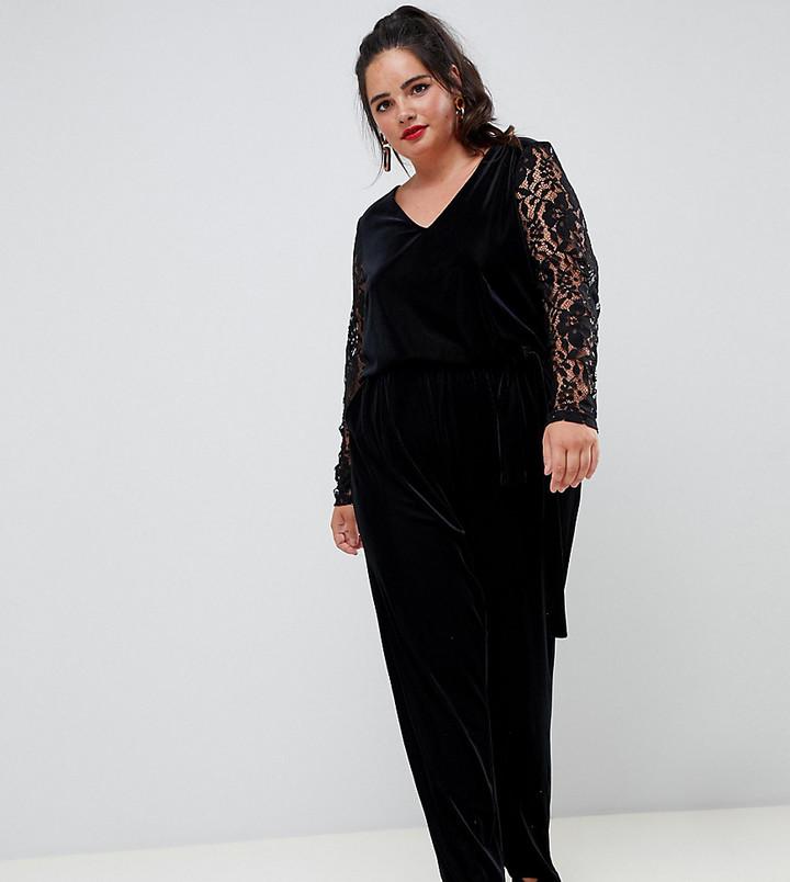 Junarose lace & velvet jumpsuit
