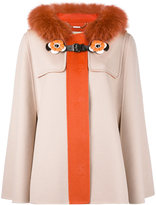 Fendi trim hooded coat - women - Cotton/Fox Fur/Lamb Skin/Virgin Wool - 42