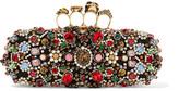 Alexander McQueen Knuckle Embellished Satin Box Clutch - Black