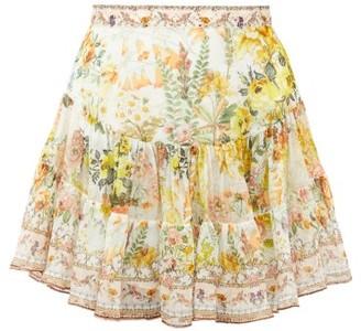 Camilla In The Hills Of Tuscany-print Silk Mini Skirt - Yellow Print