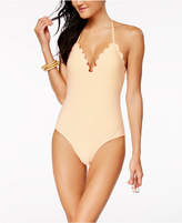 Jessica Simpson Cotton Candy Striped Scalloped One-Piece Swimsuit Women's Swimsuit
