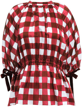 Mother of Pearl June Velvet-trimmed Checked Cotton And Silk-blend Top