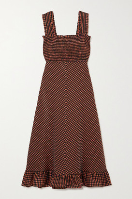 Ganni Ruffled Smocked Gingham Seersucker Midi Dress - Orange