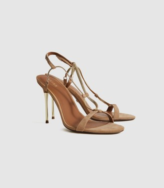Reiss Kendall - Chain Detail Heeled Sandals in Gold