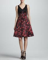 Jason Wu Combo Silk Satin Dress, Black/Ruby