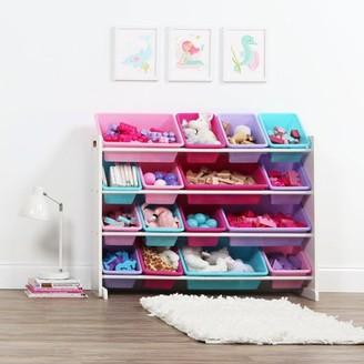 Tot Tutors White/Pastel Super-Sized Kids Toy Storage Organizer w/ 16 Plastic Bins, Forever Collection