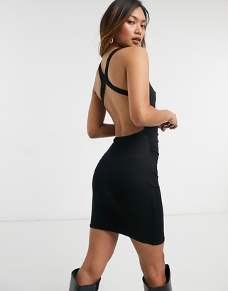 ASOS DESIGN racer neck ruched strappy back mini dress in black
