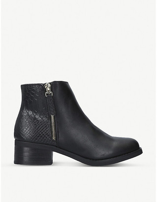 Miss KG Janice snake-embossed leather heeled ankle boots