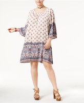 Style&Co. Style & Co Plus Size Border-Print Off-The-Shoulder Dress, Created for Macy's
