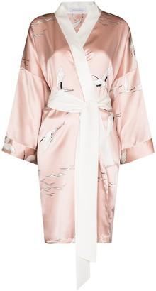 Olivia von Halle Bird-Print Silk Short Robe