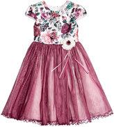 Bonnie Jean Floral-Print Mesh Dress, Toddler Girls (2T-5T)