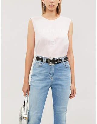 Balmain Logo-print sleeveless cotton-jersey T-shirt