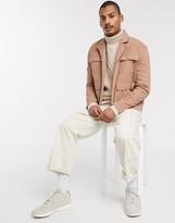 Asos Design ASOS DESIGN denim jacket with revere neck in tan