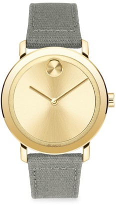 Movado Bold Evolution Goldtone Stainless Steel Canvas-Strap Watch