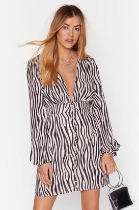 Nasty Gal Womens Zebra Print Mini Dress with Zip Closure at Back - Cream
