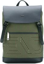 Fendi striped logo backpack - men - Leather/Nylon - One Size