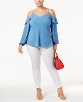 MICHAEL Michael Kors Size Ruffled Cold-Shoulder Top
