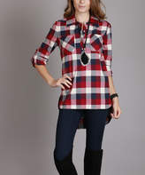 Lily Red & Blue Plaid Pocket Button-Front Top - Plus Too