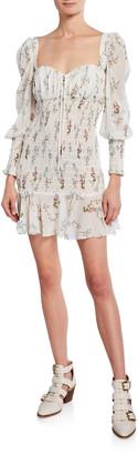 For Love & Lemons Dixon Floral-Print Sweetheart Long-Sleeve Smocked Mini Dress