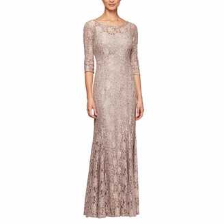 Alex Evenings Women's Long V-Neck Lace Fit and Flare Dress