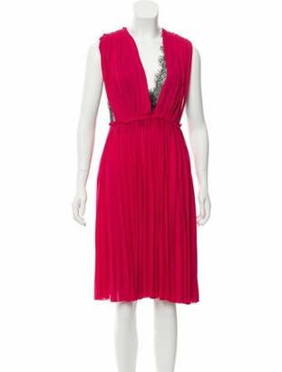 Gucci Lace-Paneled Pleated Dress Fuchsia