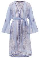 Etro Belted Paisley-print Georgette Kaftan - Womens - Blue Print