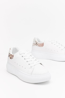 Nasty Gal Womens Snake Me Back Faux Leather Trainers - white - 3