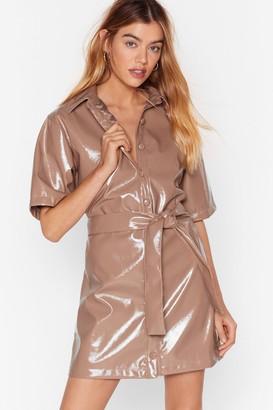 Nasty Gal Womens Vinyl Countdown Mini Shirt Dress - Beige - 8