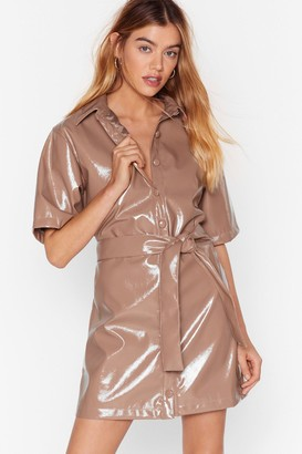 Nasty Gal Womens Vinyl Countdown Mini Shirt Dress - Camel