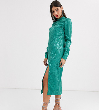 Asos Tall ASOS DESIGN Tall exclusive jacquard column midi dress with long sleeves