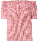 Dorothy Perkins Red Gingham Textured Bardot Top