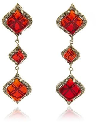 Georgina Jewelry Gold Petals Garnet Long Earrings